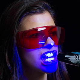 Teeth whitening Step 4: Spend 15 minutes in front of medical LED lights.
